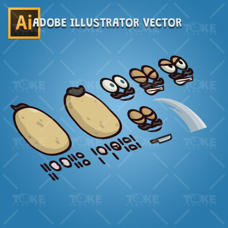 Potato Guy - Adobe Illustrator Vector Art Based Charcater Body Parts