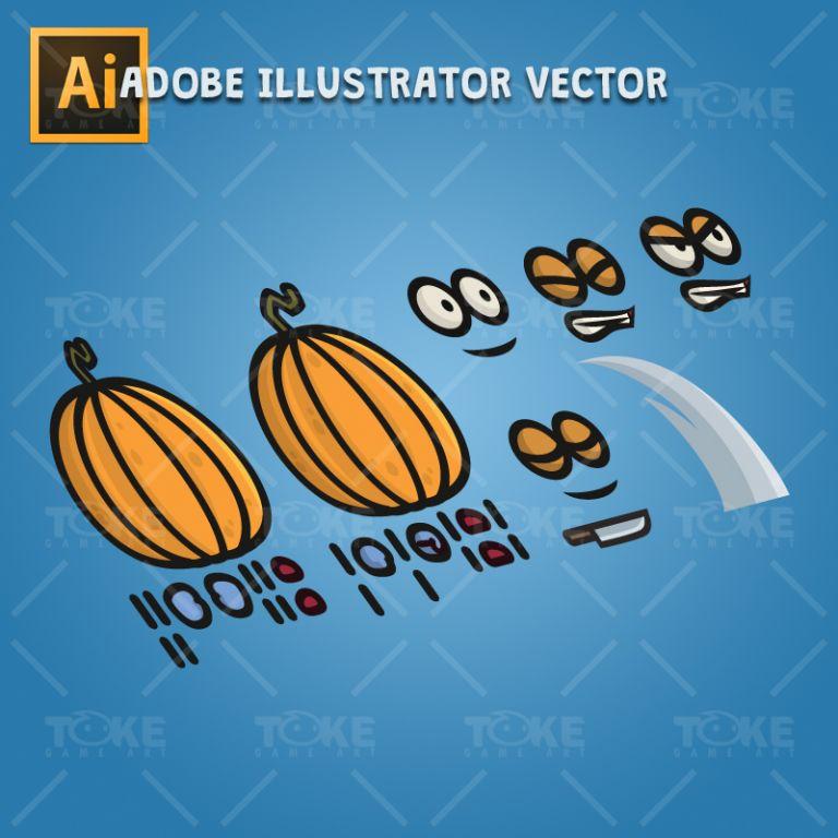Pumpkin Guy - Adobe Illustrator Vector Art Based Character Body Parts