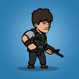Big Gunner Guy - 2D Character Sprite