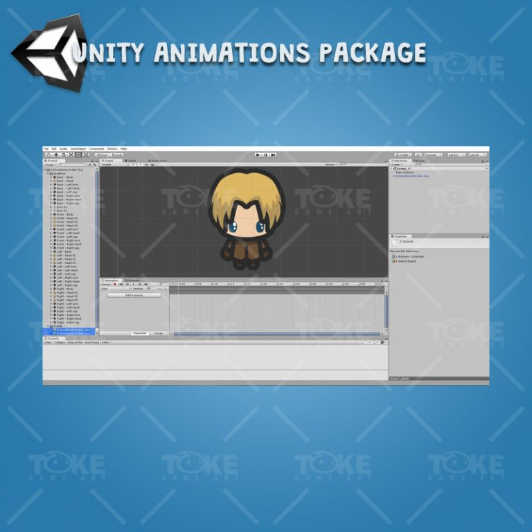 4 Directional Archer Guy - Unity Character Animation Package Ready with Spriter2UnityDX Tool