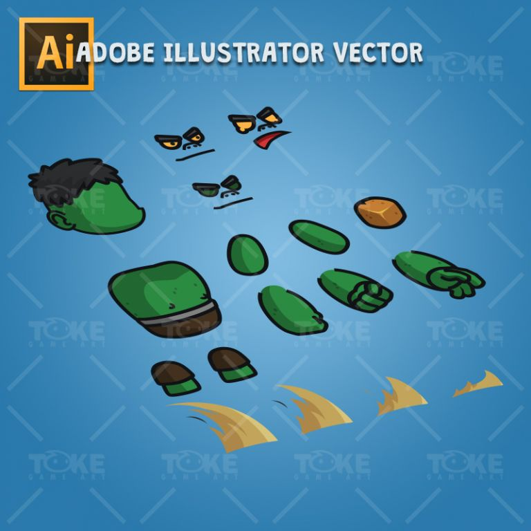 Gigantic Orc - Adobe Illustrator Vector Art Based Charcater Body Parts