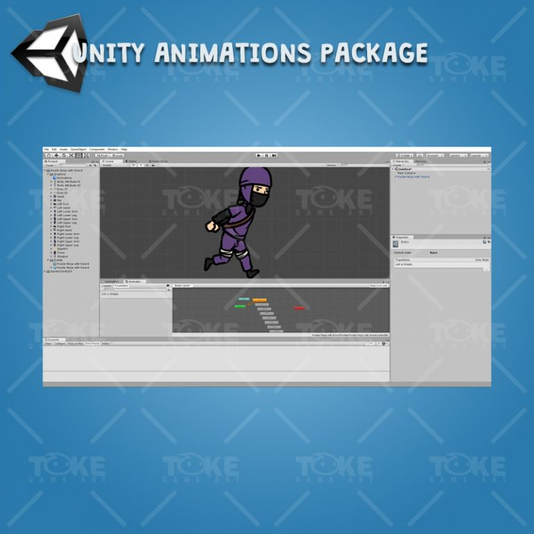 Purple Ninja with Sword - Unity Character Animation Package Ready with Spriter2UnityDX Tool