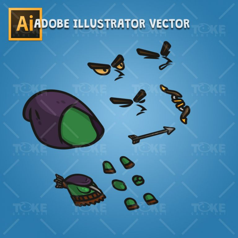Goblin Archer - Adobe Illustrator Vector Art Based Character Body Parts