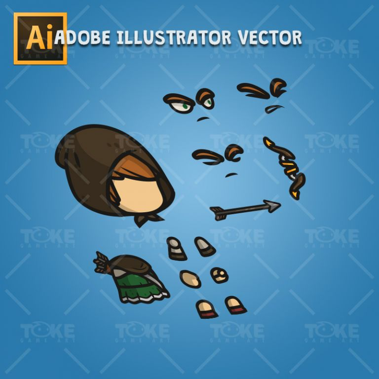 Medieval Hooded Archer Girl - Adobe Illustrator Vector Art Based Character Body Parts