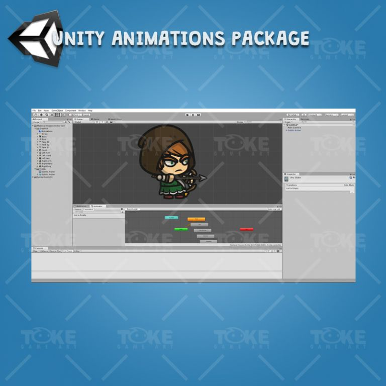 Medieval Hooded Archer Girl - Unity Character Animation Package Ready with Spriter2UnityDX Tool