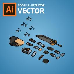 Cool Guy with Sword - Adobe Illustrator Vector