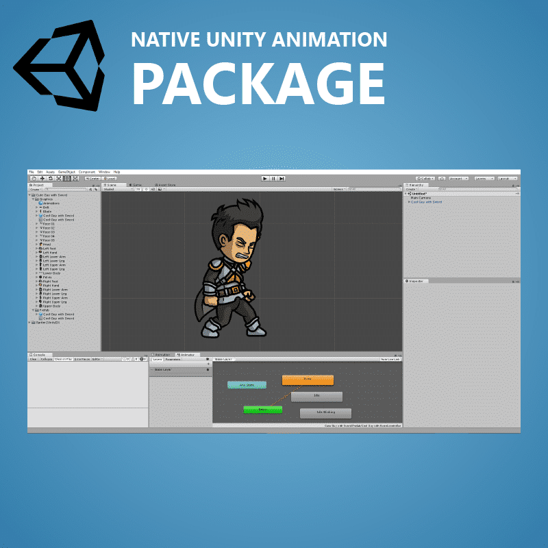 Cool Guy with Sword - Native Unity Animation Package