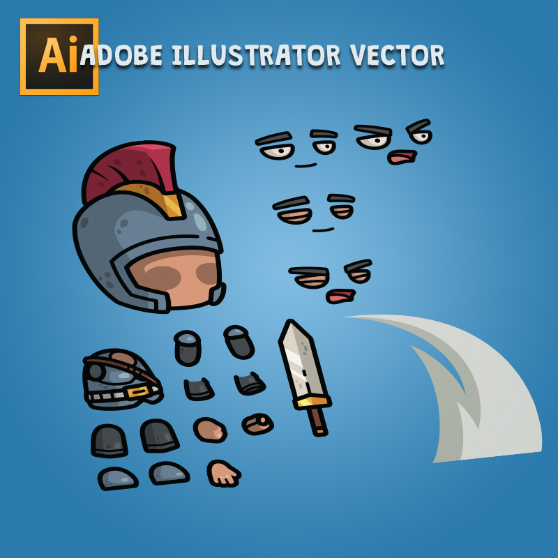 Big Head Medieval Knight - Adobe Illustrator Vector Art Based