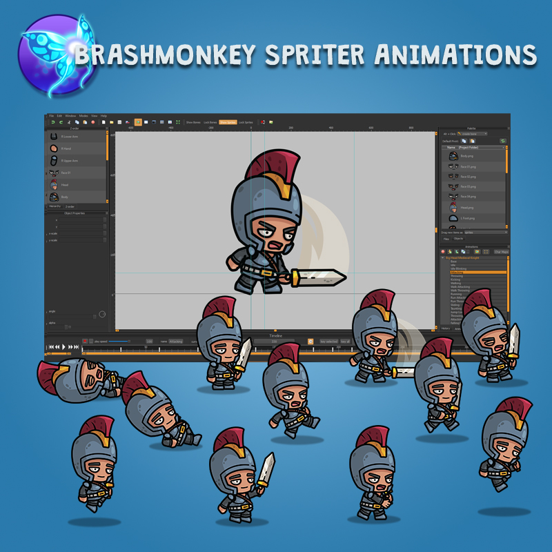 Big Head Medieval Knight - Brashmonkey Animation Spriter