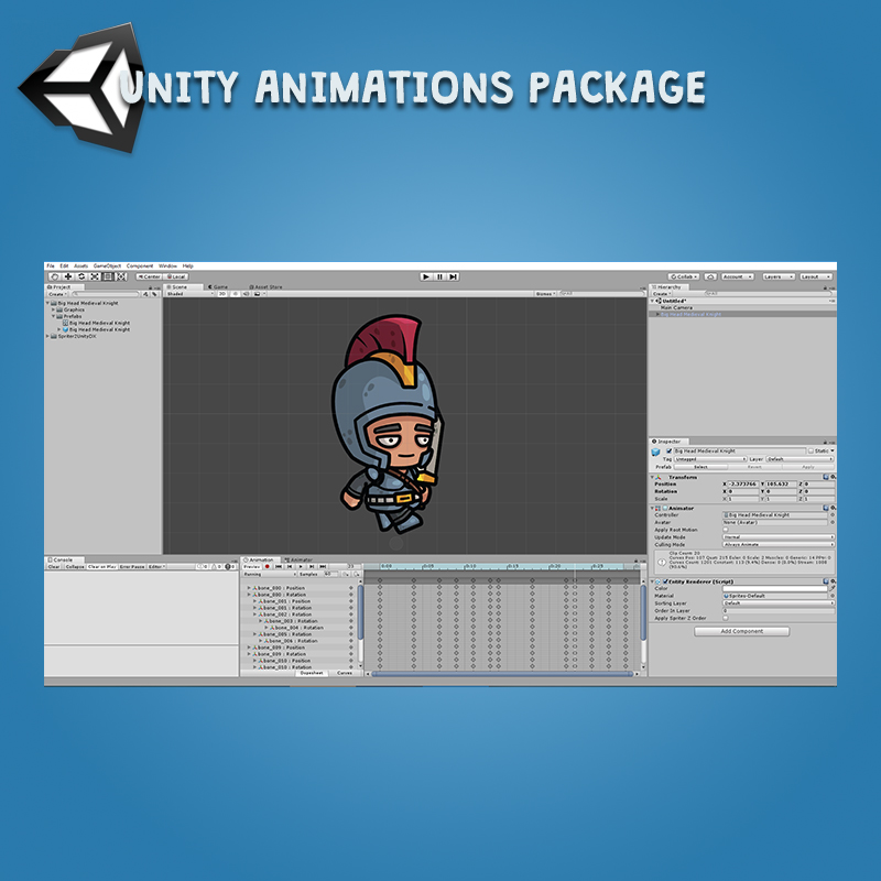 Big Head Medieval Knight - Unity Animation Package Ready