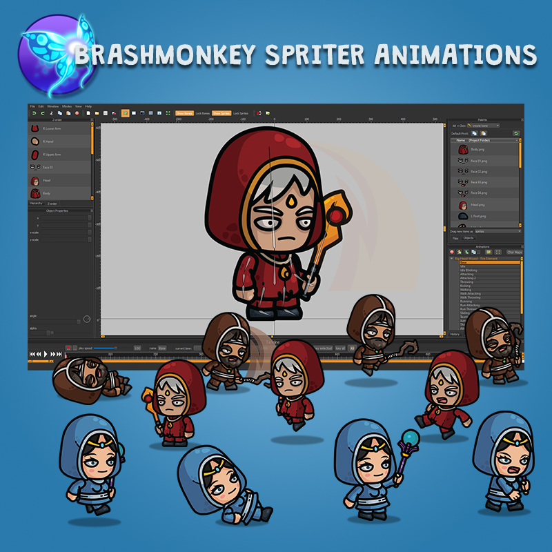 Big Head Wizard 3-Packs Fire Earth Water Animated in Brashmonkey Spriter