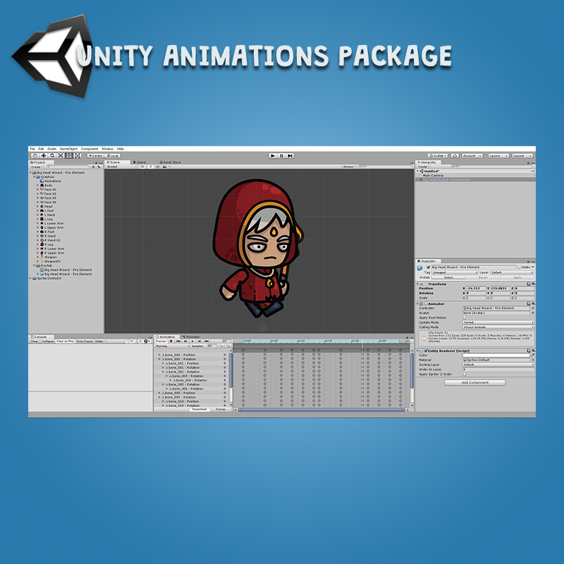 Big Head Wizard 3-Packs Fire Earth Water Unity Animation Package Ready with Spriter2UnityDX Tool