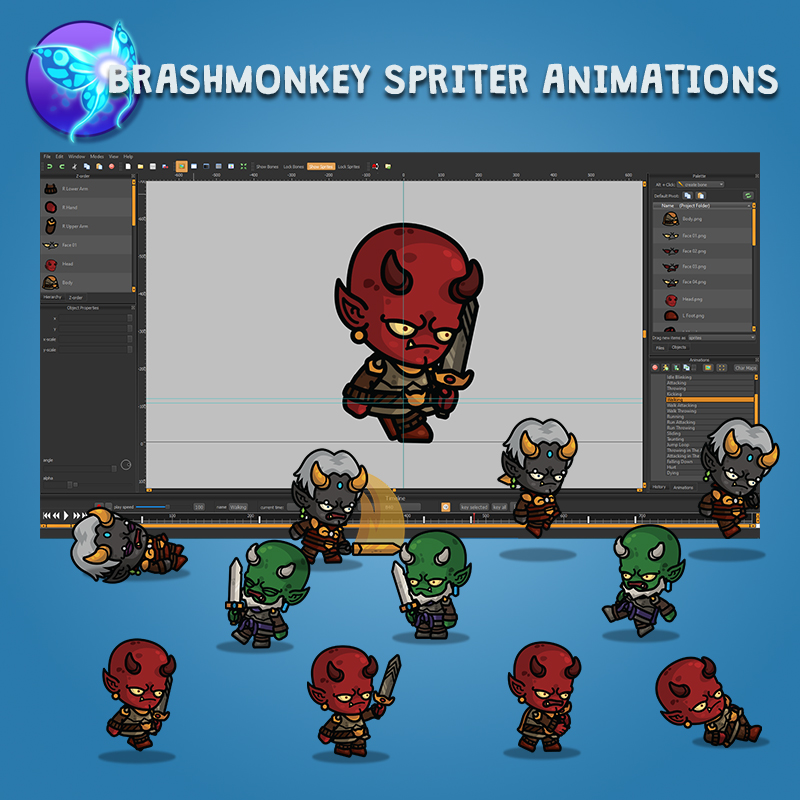 Devil Knight 3-Packs - Red Green Black Animated with Brashmonkey Spriter