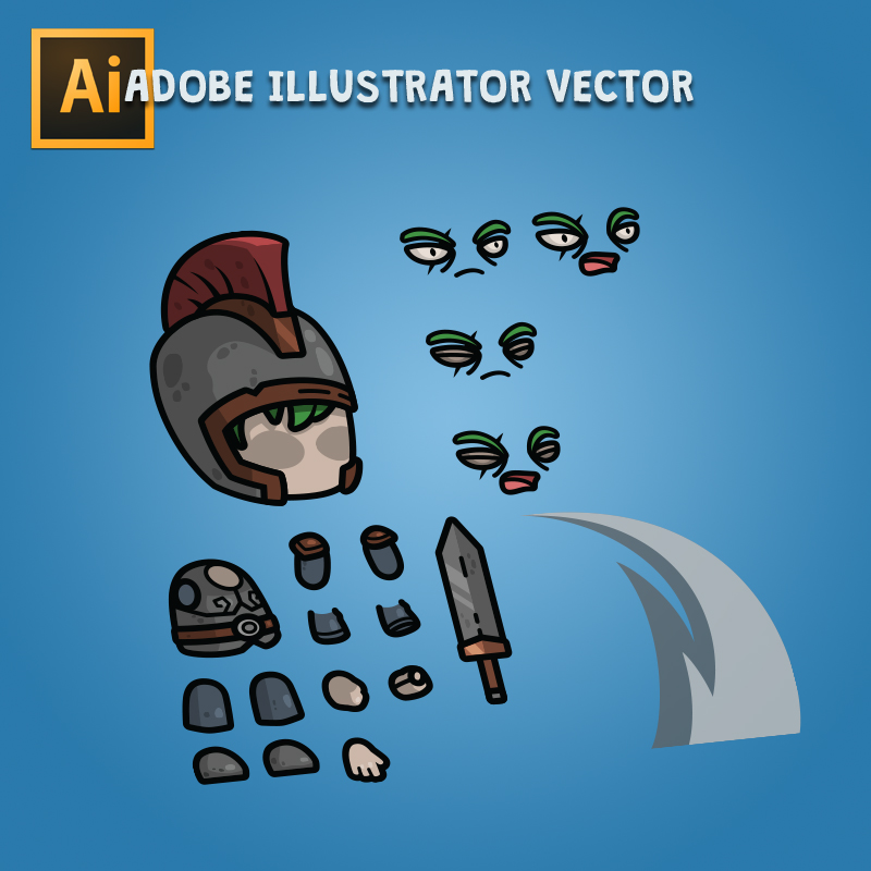Evil Big Head Knight - Adobe Illustrator Vector Art Based Charcater
