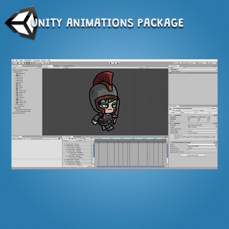 Evil Big Head Knight - Unity Animation Package Ready with Spriter2UnityDX Tool