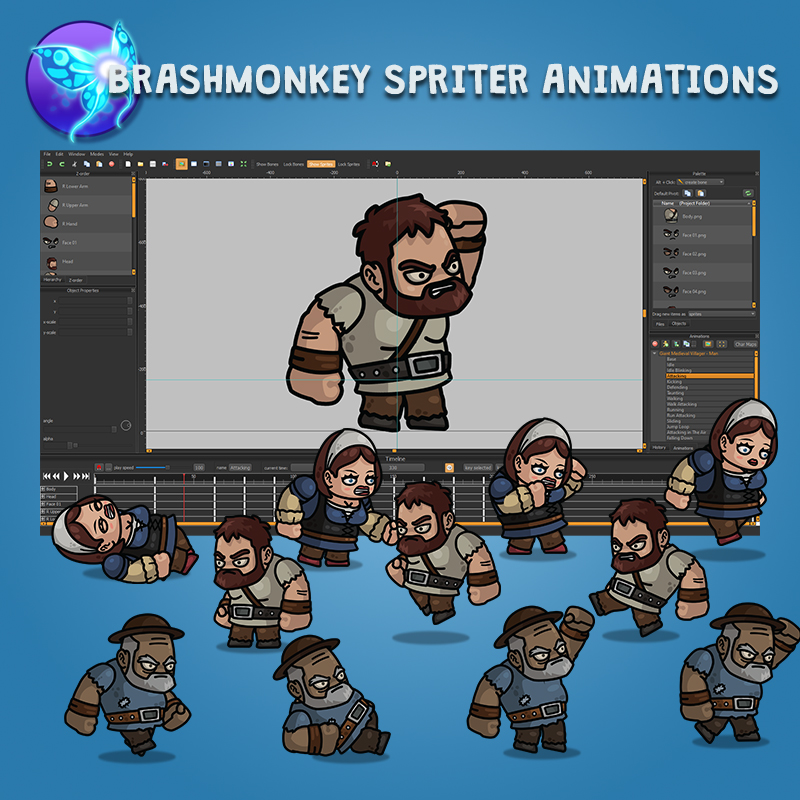 Giant Medieval Villager 3-Packs Animated 2D Characters with Brashmonkey Spriter