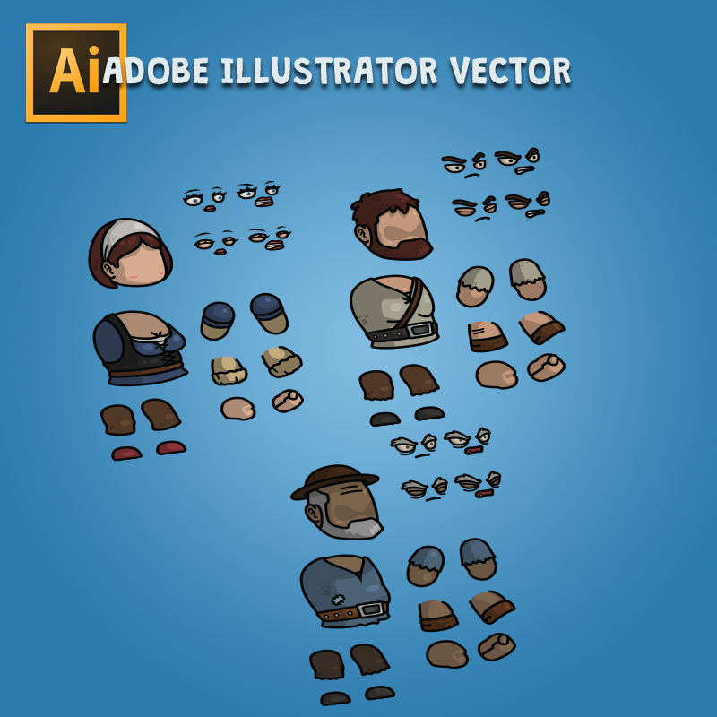 Giant Medieval Villager 3-Packs Editable Adobe Illustrator Vector Art Based