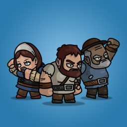 Giant Medieval Villager 3-Packs Royalty Free 2D Character Sprite