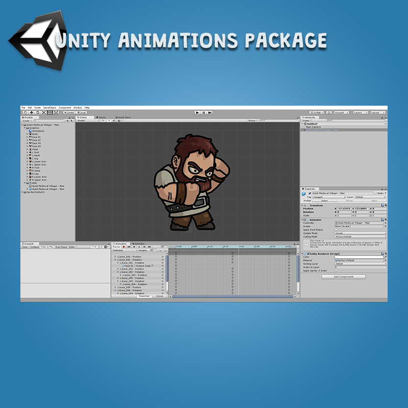 Giant Medieval Villager 3-Packs Unity Animation Package Ready with Spriter2UnityDX Tool