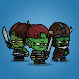 Goblin Knight 3-Packs Red Hair Bearded Female - Royalty Free 2D Character Sprite