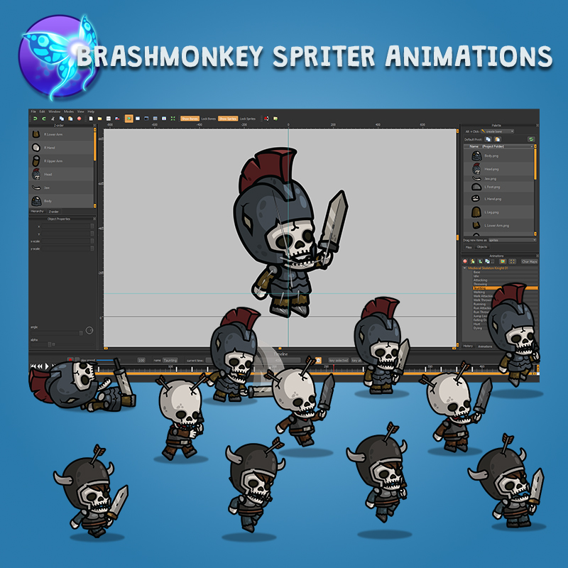 Medieval Skeleton Knight 3-Packs - Animated with Brashmonkey Spriter