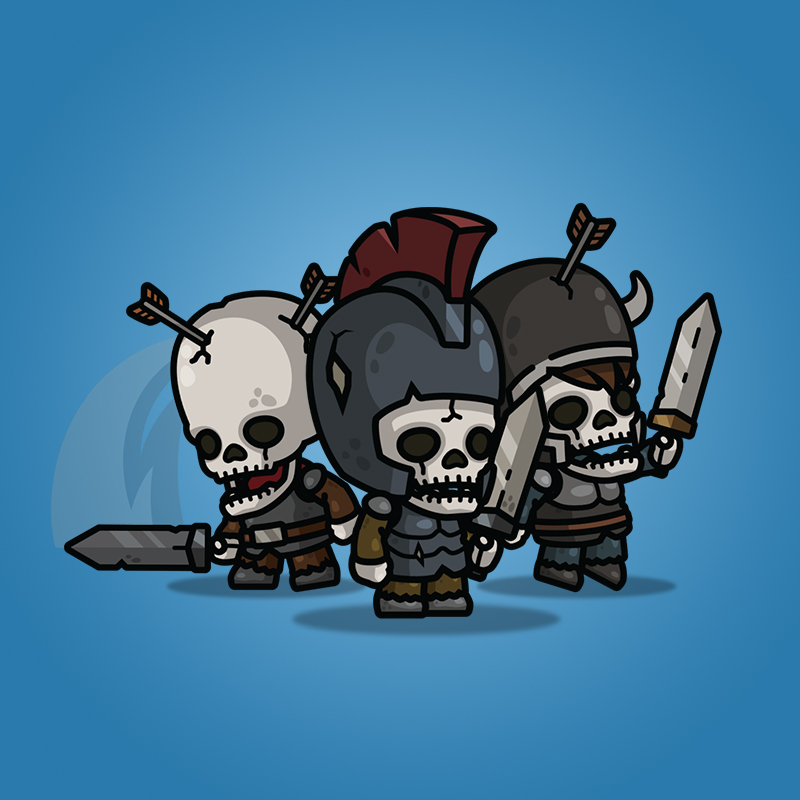 Medieval Skeleton Knight 3-Packs - Royalty Free 2D Character Sprite