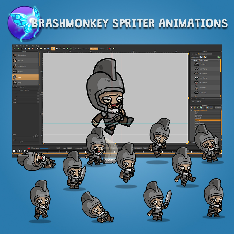 Old Medieval Knight Guy - Brashmonkey Spriter 2D Animated Character Sprite
