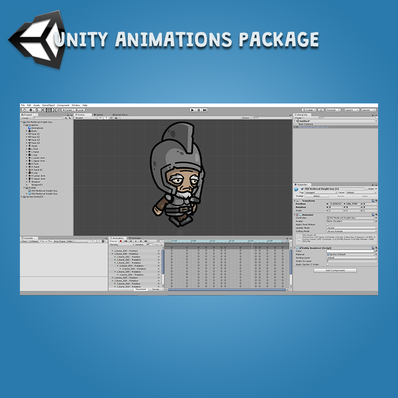 Old Medieval Knight Guy - Unity Animation Package with Spriter2UnityDX