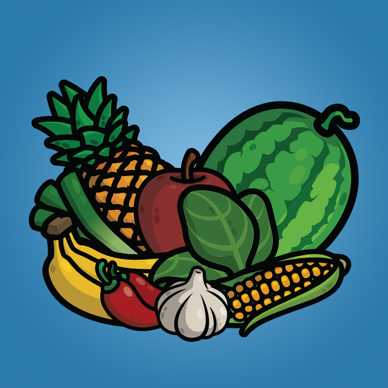 Cartoon Fruit and Vegetable Icons Pack-1 - 2D Game Icons