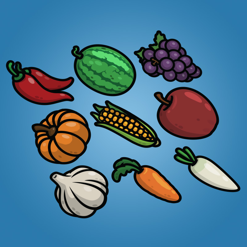 Cartoon Fruit and Vegetable Icons Pack-1 - Chili Pepper Watermelon Grape Pumpkin Corn Apple Garlic Carrot Radish