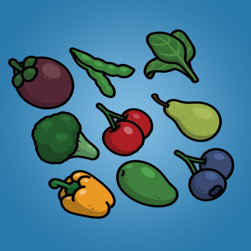 Cartoon Fruit and Vegetable Icons Pack-1 - Mangosteen Soybean Spinach Broccoli Cerry Pear Yellow Pepper Mango Blueberry