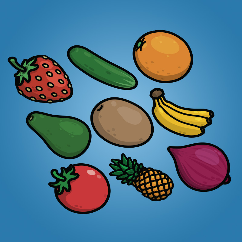 Cartoon Fruit and Vegetable Icons Pack-1 - Strawberry Cucumber Orange Avocado Potato Banana Tomato Pineapple Onion