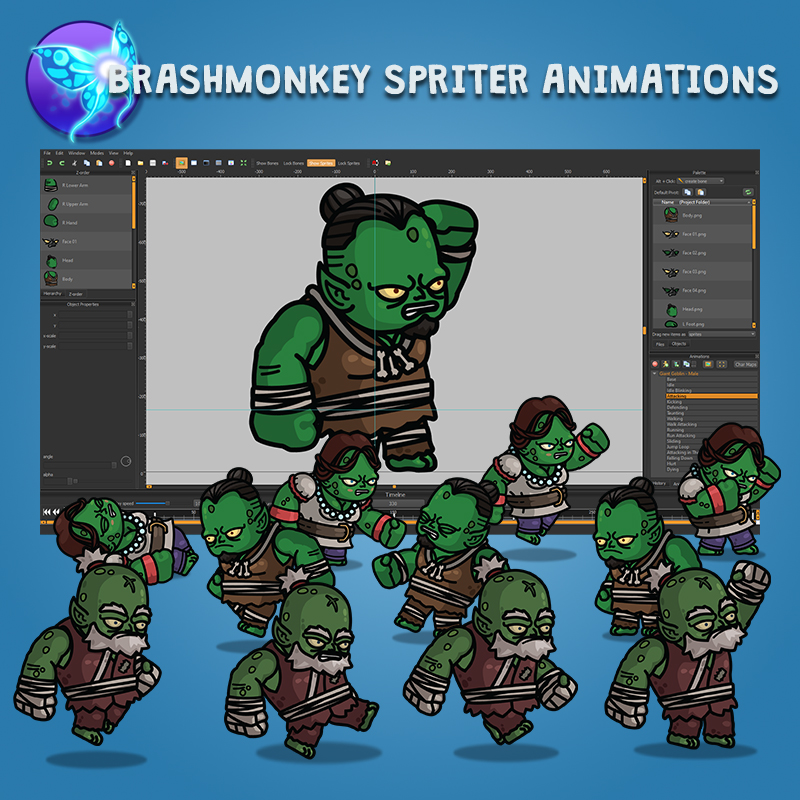 Giant Goblin 3-Packs 2D Animated Character Sprite with Brashmonkey Spriter