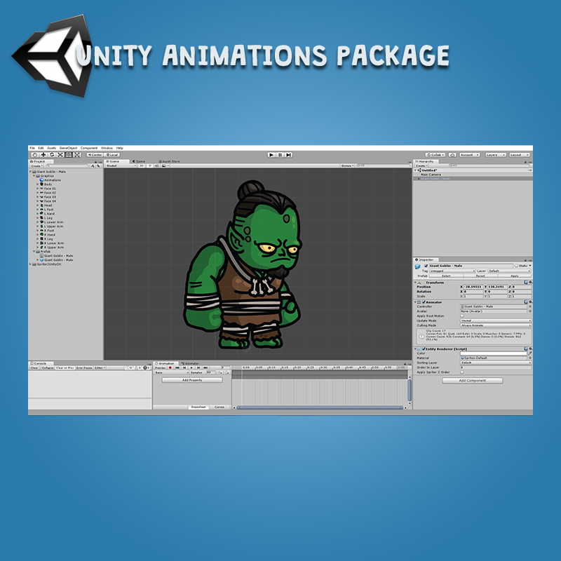 Giant Goblin 3-Packs Unity Animation Package Ready with Spriter2UnityDX Tool