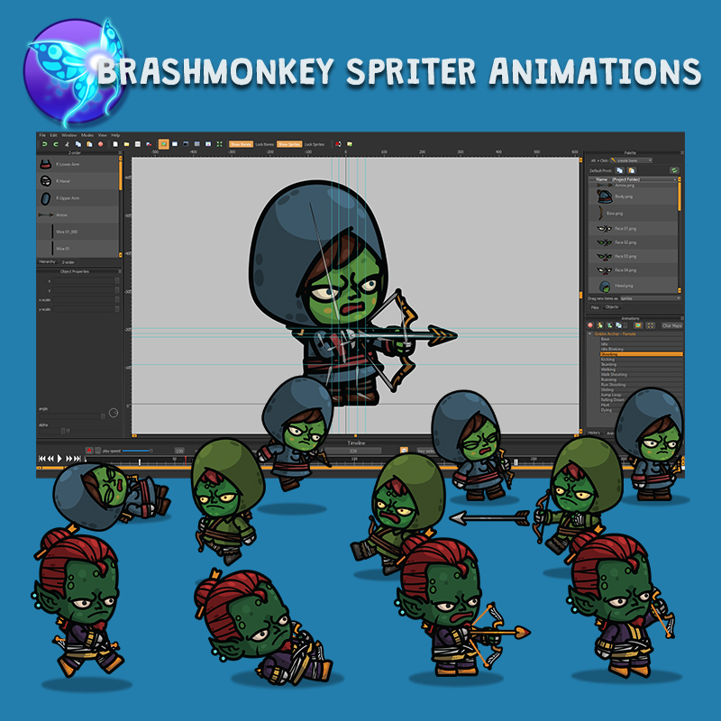 Goblin Archer 3-Packs - Animated 2D Character Sprite with Brashmonkey Spriter