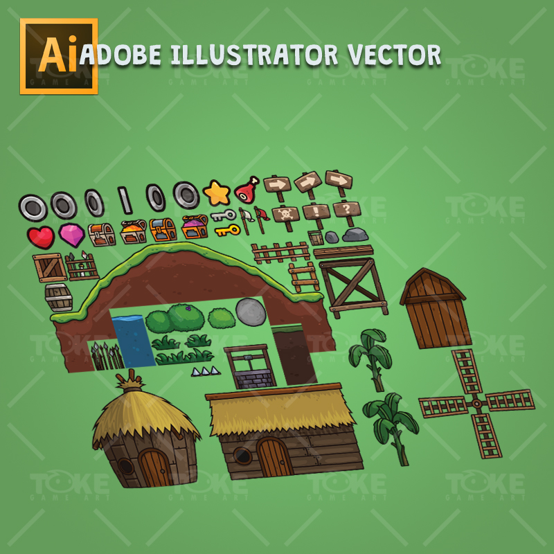 Goblin Village 2D Game Platformer Customizable Adobe Illustrator Vector Art