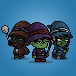 Goblin Witch 3-Packs Royalty Free 2D Charcater Sprite for Game Developer
