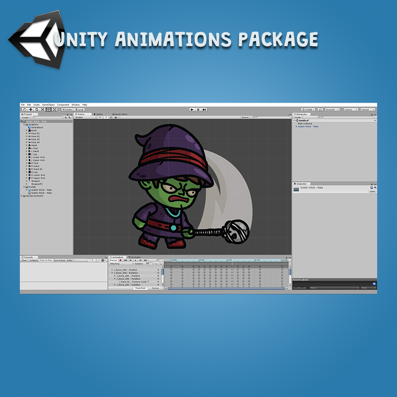 Goblin Witch 3-Packs Unity Animation Package Ready with Spriter2UnityDX Tool