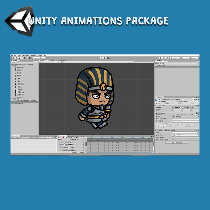 Chibi Egyptian Warrior Unity Animation Package Ready with Spriter2UnityDX Tool