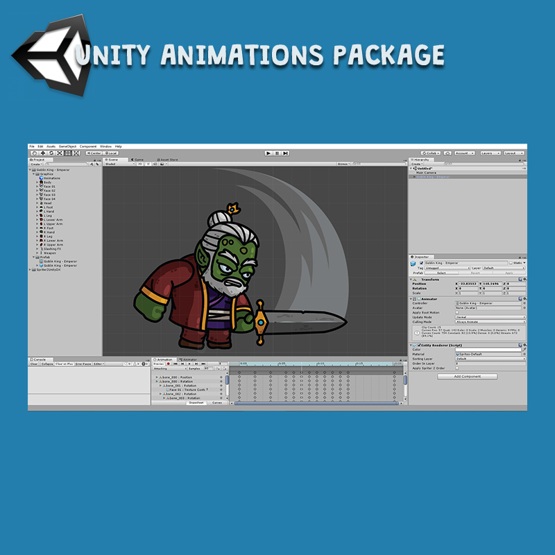 Goblin King 3-Packs Unity Animation Package Ready with Spriter2UnityDX Tool