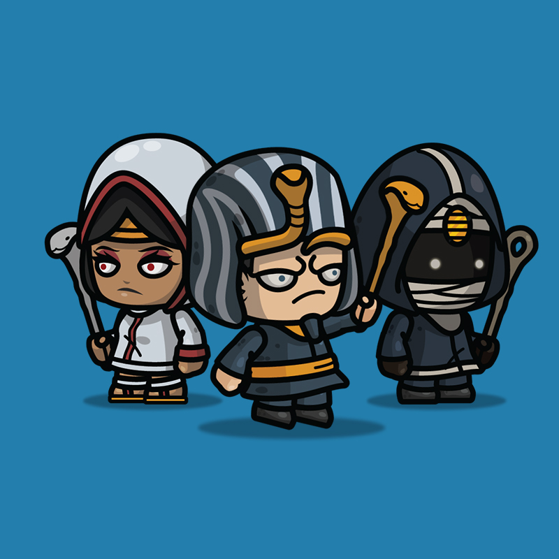 Egyptian Witch 3-Packs 2D Character sprite for Side Scroller Game