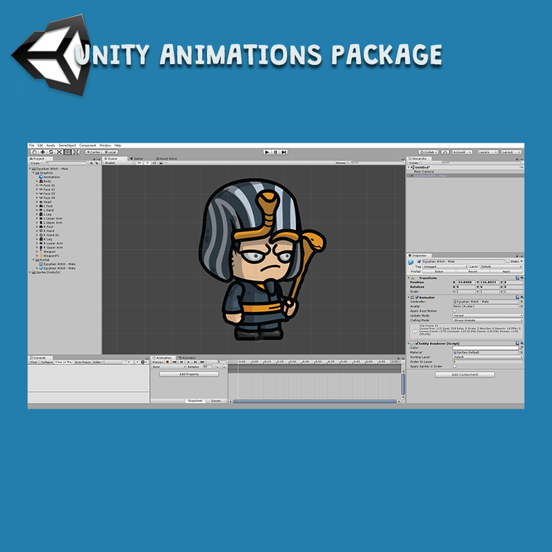 Egyptian Witch 3-Packs 2D Unity Animation Package Ready with Spriter2UnityDX Tool