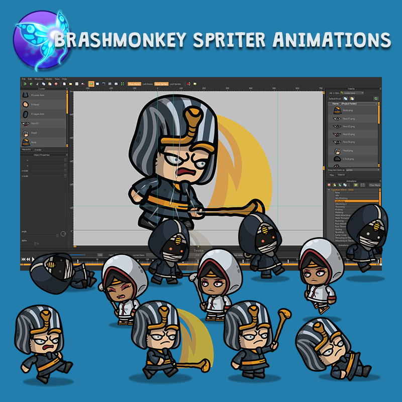 Egyptian Witch 3-Packs Brashmonkey Spriter Character Animations
